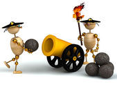 3d wood mans with a gold cannon — Foto de Stock