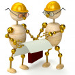 Two 3d wood man engineers — Stock Photo