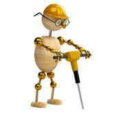 3d uomo legno lavorando con martello pneumatico — Foto Stock
