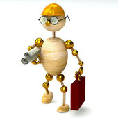 3d wood man engineer — Stock Photo