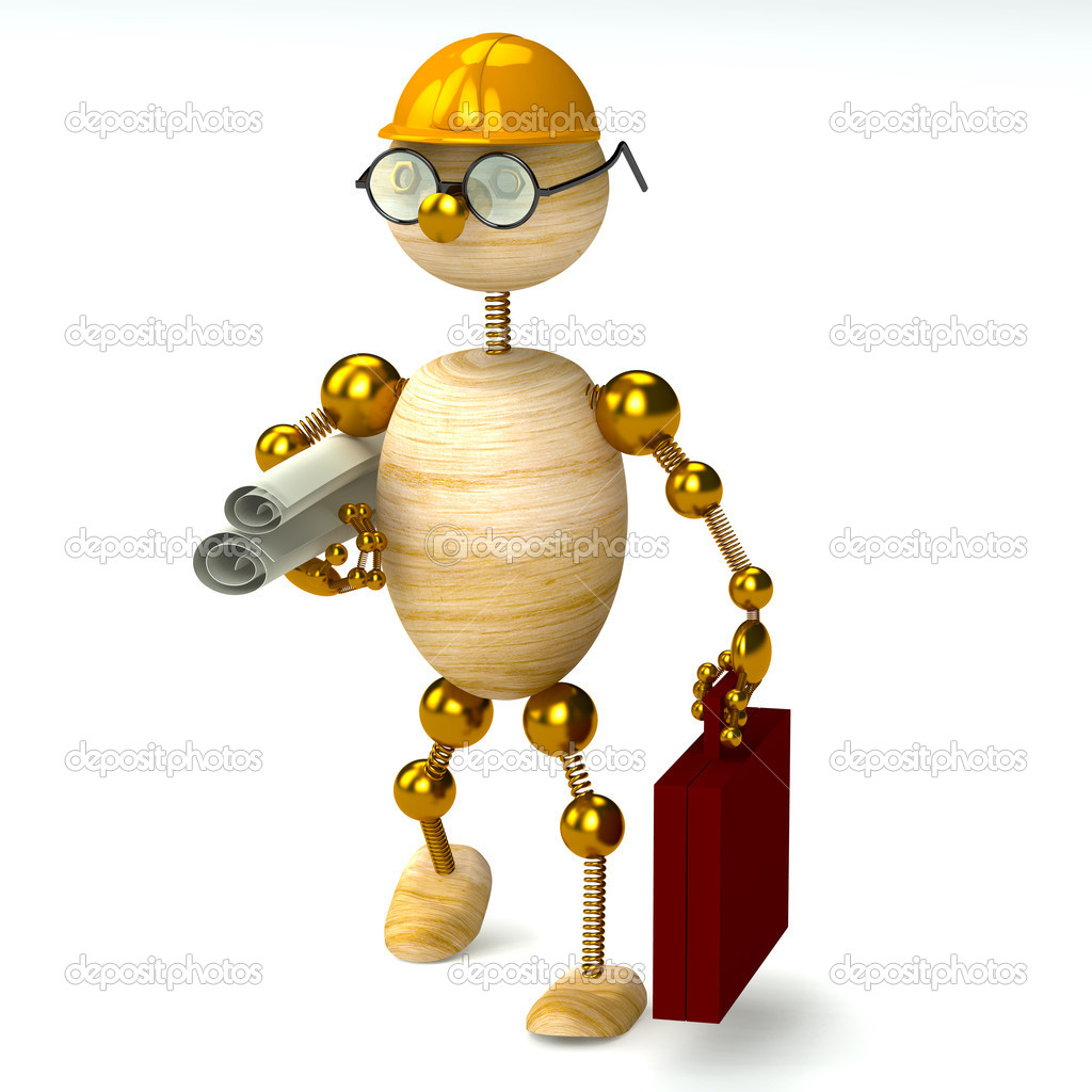 3d wood man engineer isolated on white  Stock Photo #5172029