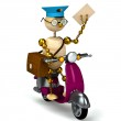 3d wood postman is riding on moped — Stock Photo #5279887