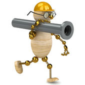 3d wood man carring a pipe — Stock Photo