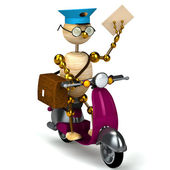 3d wood postman is riding on moped — Stock Photo