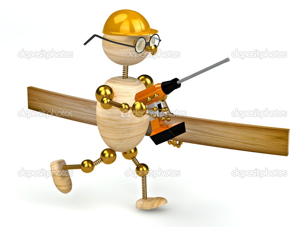 3d wood man with a drill isolated  Stock Photo #5279879