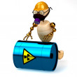Royalty-Free Stock Photo: 3d wood man with a radioactive waste