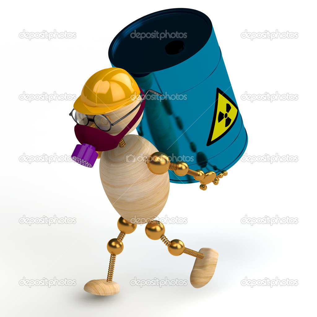 3d wood man with a radioactive waste isolated — Stock Photo #5332369