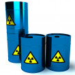 Royalty-Free Stock Photo: 3d blue barrel radioactive waste