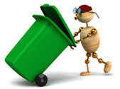 3d wood man pulling green waste container — Stock Photo