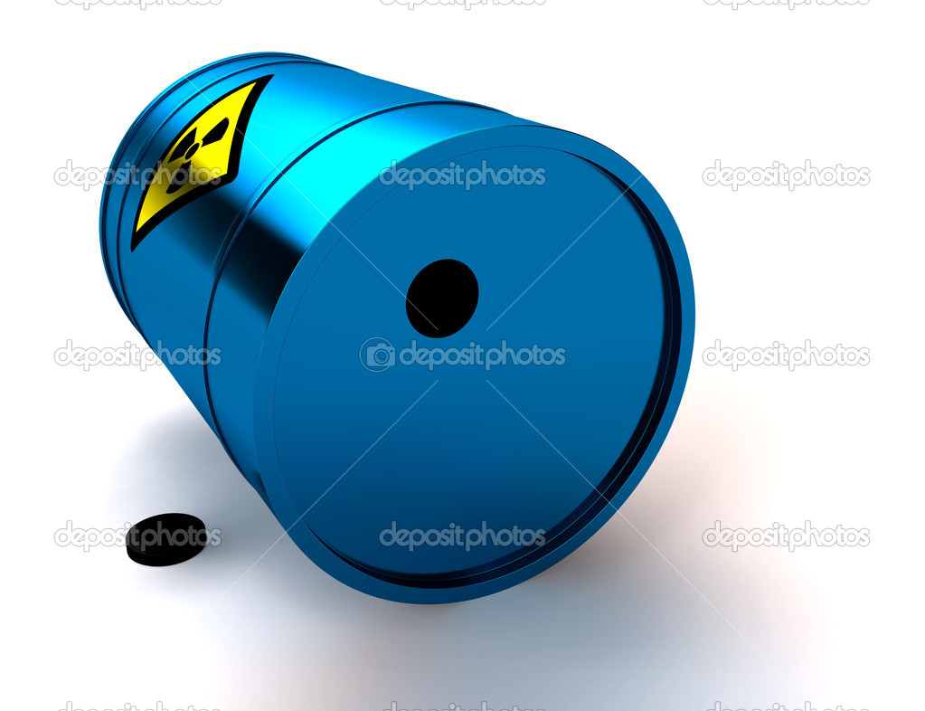 3d blue barrel radioactive waste isolated on white — Stock Photo #5370747