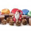 Santa Claus and christmas Balls — Stock Photo