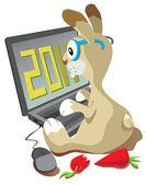 Rabbit the programmer — 图库矢量图片