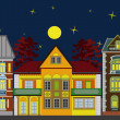 Three residential houses at night — Stock Photo