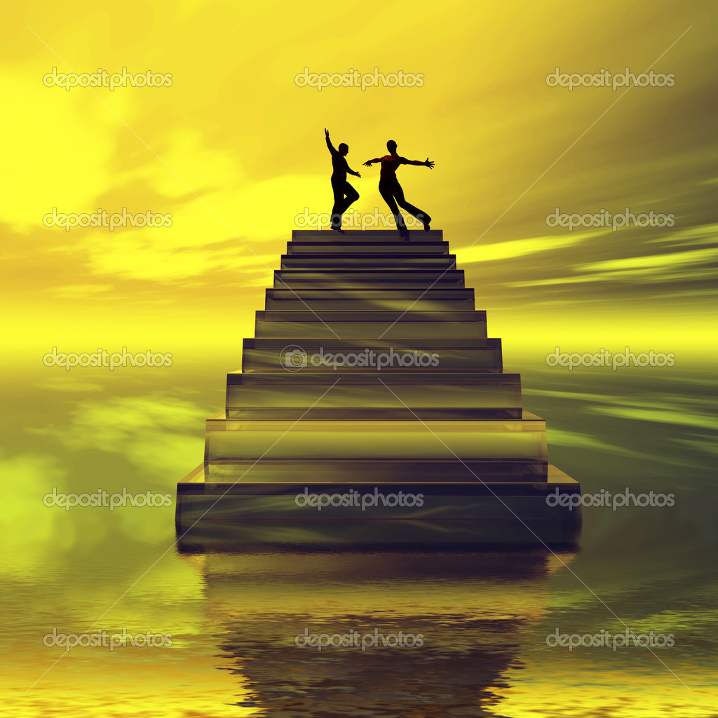 A couple on cloud nine walking on air. — Stock Photo #5274100