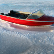 Boat winter frost ice — Stock Photo