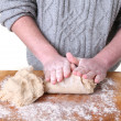 Kneading dough making bread — Stock Photo