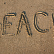 Beach writting in sand — Stockfoto