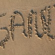 Sand writting in the sand — Stock Photo