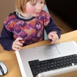 Child laptop working — Stock Photo #4508752