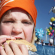 Child eat lunch burger — Stock Photo #4508882