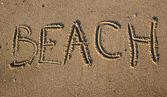 Beach writting in sand — Stock Photo