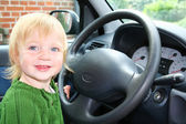 Child car steering wheel drive — Stock Photo