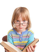 Child glasses book isolated — Stock Photo