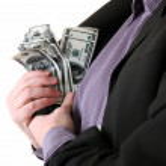 Business consumer money dollars pocket — Stock Photo