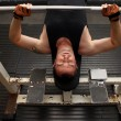 Training strength barbell gym — Stock Photo