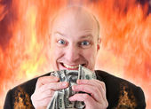 Avarice deadly sin of greed dollars — Stock Photo