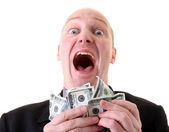 Successful businessman winner dollars — Stock Photo
