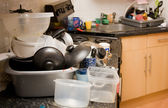 Kitchen dirty mess washing-up — Stock Photo