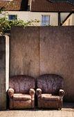 Chair street rubbish litter — Stock Photo