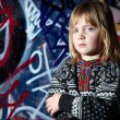 Stock Photo: Graffiti child cool street art