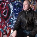 Man graffiti urban attitude — Stock Photo