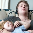Relaxing family sleeping brothers — Stock Photo #4864544