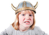 Child viking angry — Stock Photo