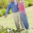 Senior couple in garden - Stock Photo