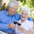 Senior couple drinking red wine — Foto Stock