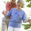 Senior couple having fun outside — Foto de Stock
