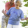 Senior couple having fun outside — Stock Photo