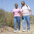 Senior couple on walk — Stock Photo