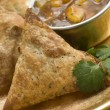 Royalty-Free Stock Photo: Vegetable Samosa with Mango Chutney