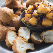 Royalty-Free Stock Photo: Pakoras- Mushroom and Cauliflower with Mango Mustard and Pomegra