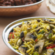 Dish of Mushroom Pilau Rice with Beef Madras — Stock Photo