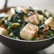 Stock Photo: Karai Dish with Spinach and fried Paneer