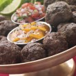Stock Photo: Platter of KoftBalls with Mango Chutney and Tomato Relish