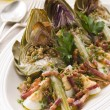 Roasted Globe Artichokes with Pancetta Egg and Garlic Breadcrumb — Stock Photo