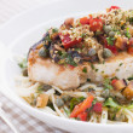 Baked Sicilian Swordfish with Linguine — Stock Photo