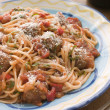 Spaghetti Meatballs in Tomato sauce with Parmesan - Stockfoto